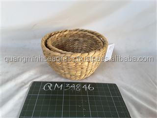 100% natural water hyacinth pet bowl hand weaving rattan fruit bowl eco-friendly safety rattan bread bowl