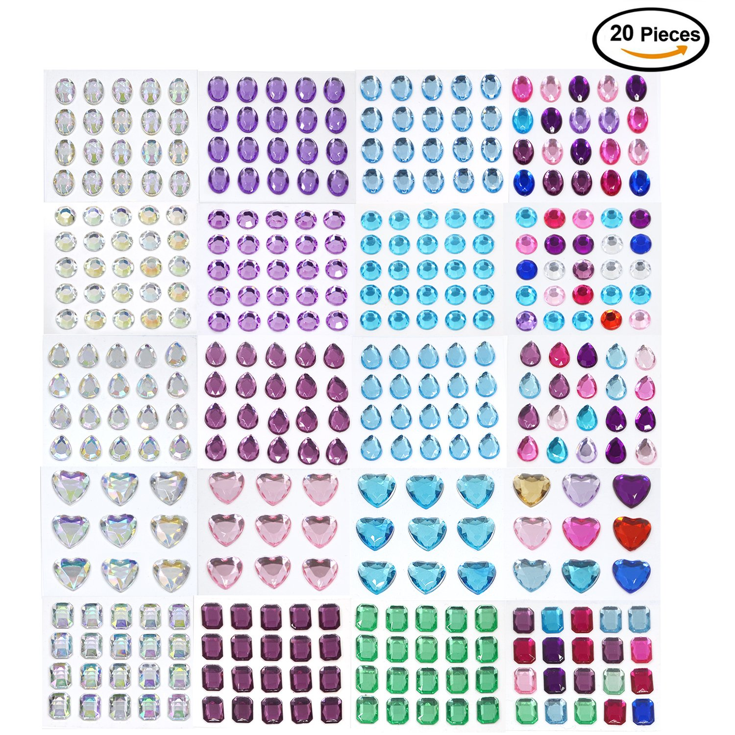 14 Sheets D-buy 2408 Pcs etc. 14 Colors for DIY Craft Scrap Book Children Picture Frames 3 Sizes Multicolor Self-Adhesive Rhinestone Sticker Sheet