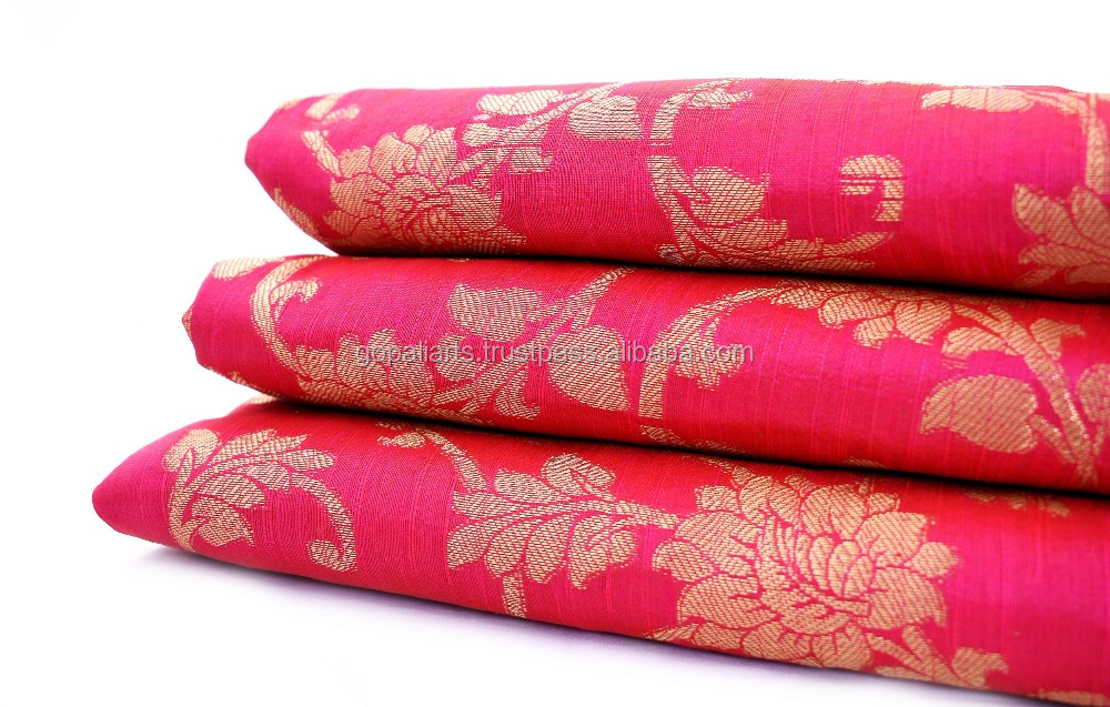 Dress Making Printed Magenta Cotton Fabric Indian Crafting Material By 1 Metre