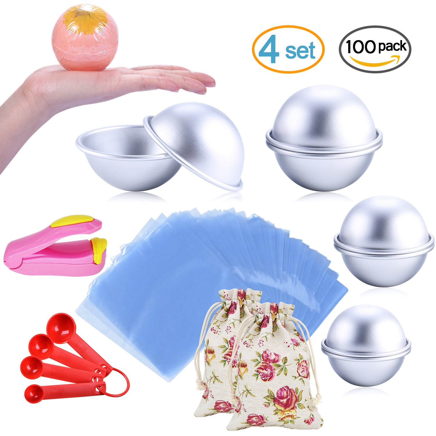 Bath Bomb Mold Set 116 Pcs - 3 Size 8 Pieces DIY Metal Mould, Shrink Wrap Bags, Gauge Spoon Set, Luxury Gift Bags, Mini Heat Sealer - for Soaps, Crafts and Bath Bombs Making (with Instructions)