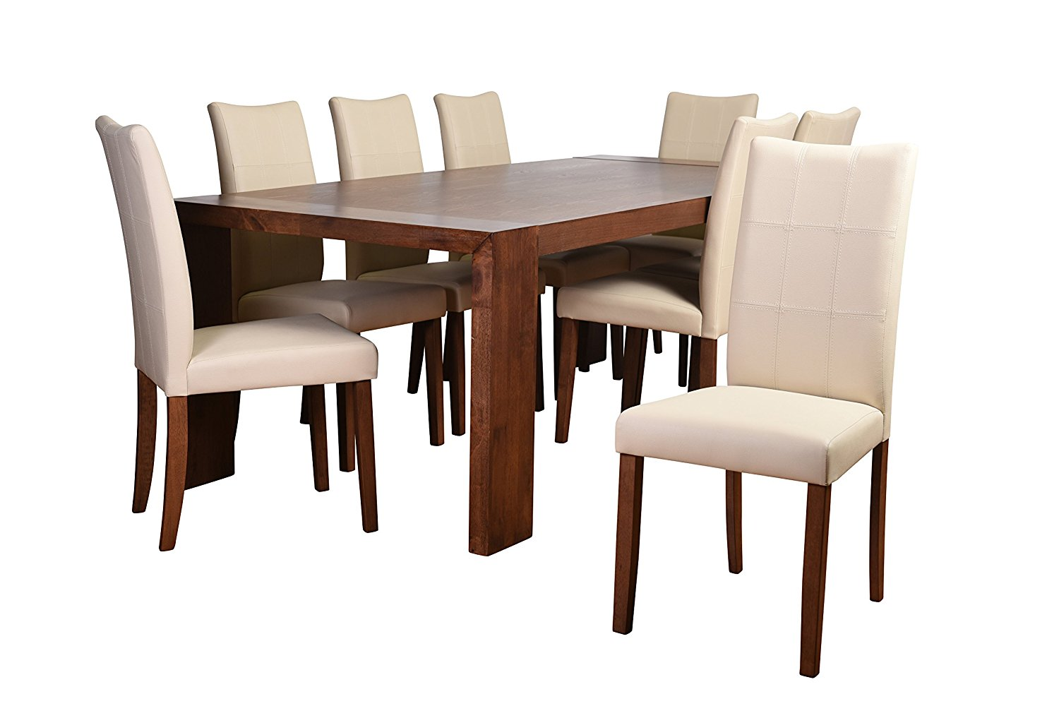 Midtown Concept Christine Deluxe Mid-Century 9Piece Living Room Dining Set, Cream Leather