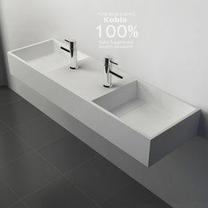 Double Trough Wash Basin Stone Bathroom Solid Surface Cleaning Resin Countertop Sinks