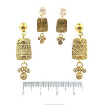 All Gold Scripture Earring with Zirconia
