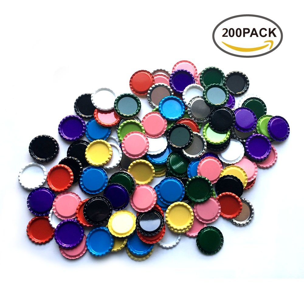 HAWORTHS 200 PCS Flat Decorative Bottle CaP Craft Bottle Stickers Double Sideds Printed for Hair Bows, DIY Pendants or Craft ScraPbooks Mixed Colors(10colors)