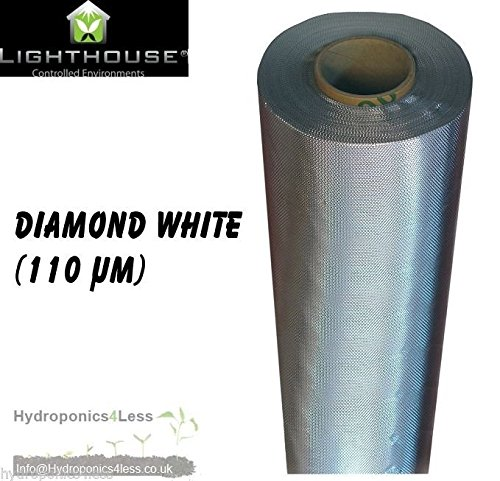LightHouse Silver Diamond Mylar Reflective Sheeting Film Roll Hydroponics Grow 2 To 100M (1.2 Meter 2)