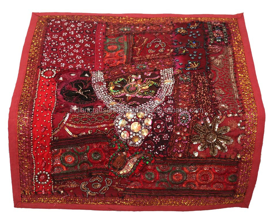 Sanskriti Vintage Sari Border Indian Craft Dark Red Trim Hand Beaded Kundan Lace Fixing Prices According To Quality Of Products Linens & Textiles (pre-1930) Antiques