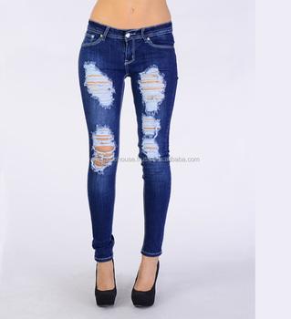 Distressed Jeans Pants - Women Distressed Jean Pants / Jeans Woman ...