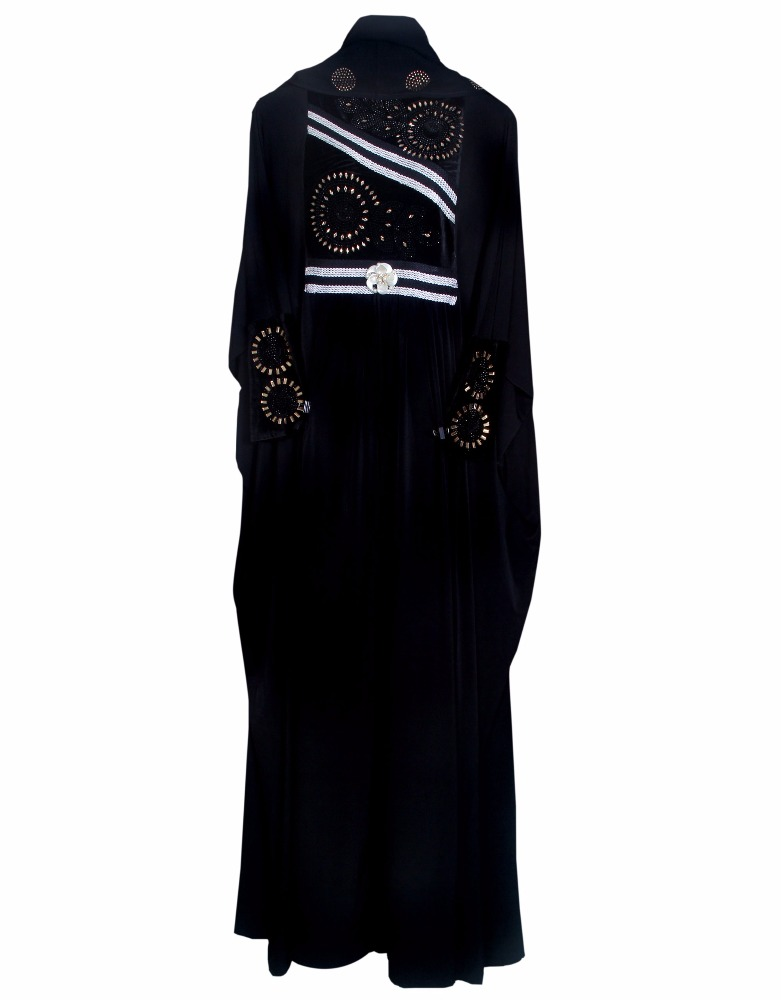 Black Colour Lycra(Stretchable) With Diamond Stone Work & Embroidery Lace Work / Islamic Wear Abaya For Women (dubai abaya 2017)