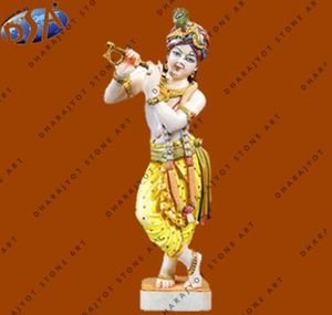 White Marble Polished Standing Lord Krishna Statue