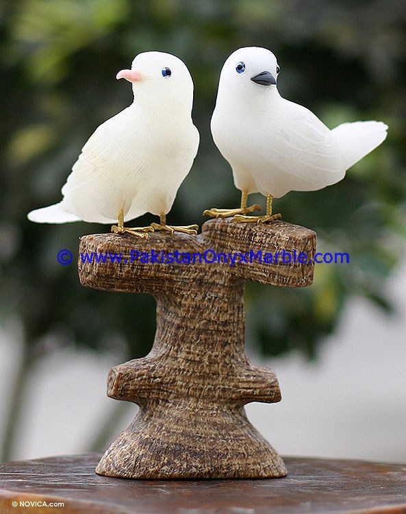 CUSTOM MADE Natural Color ONYX CARVED ONYX DOVE STATUE