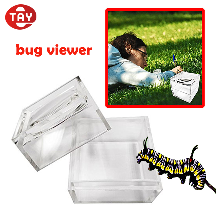 clear acrylic box magnifier with magnifying lid