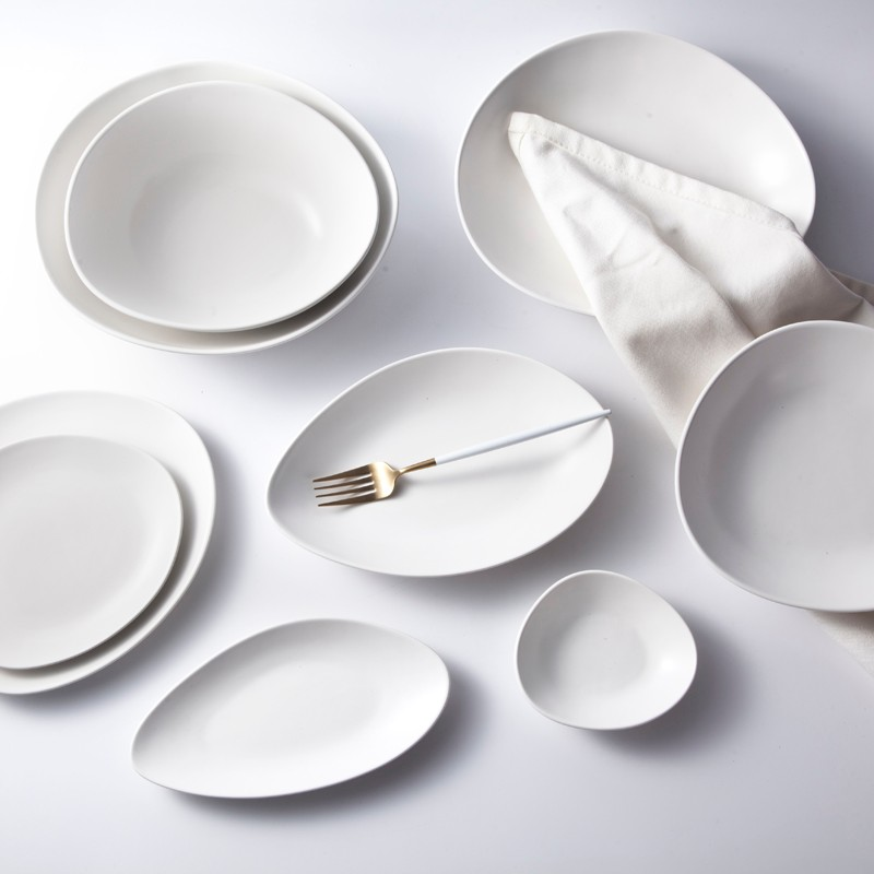product-Two Eight-hotel and restaurant white ceramic dinnerware set matt white tableware set-img-1