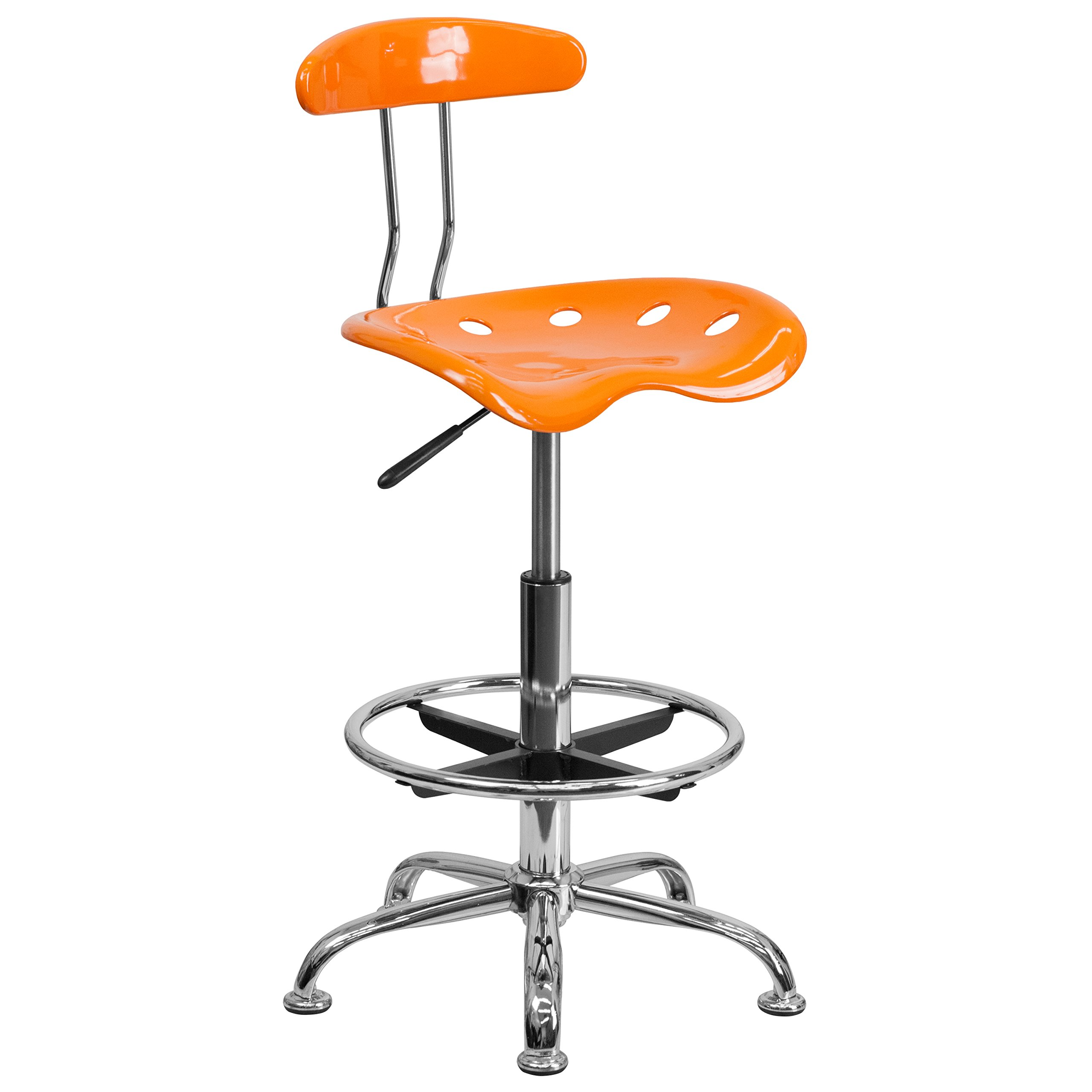 Flash Furniture Vibrant Orange and Chrome Drafting Stool with Tractor Seat