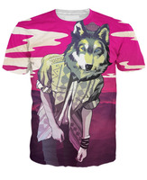 chill wolf design sublimation t-shirt/cool design sublimation t-shirt for men and women/AT Noki