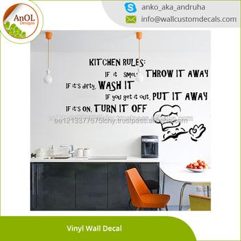 Kitchen Rules Inspirational Text Vinyl Wall Decal Quotes Buy Kitchen Rules Inspirational Textinspirational Text Art Decor Home Stickerfunny Dining