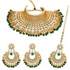 Imitation Pearl Padmavati Style Choker Kundan Necklace With Earrings & Maang Tikka
