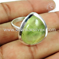 Shiny prehnite gemstone finger ring handmade india 925 sterling silver rings jewelry supplier wholesale