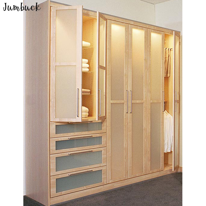 Contemporanea closet organizer armadio in legno massello di stoccaggio con glassato porte armadio