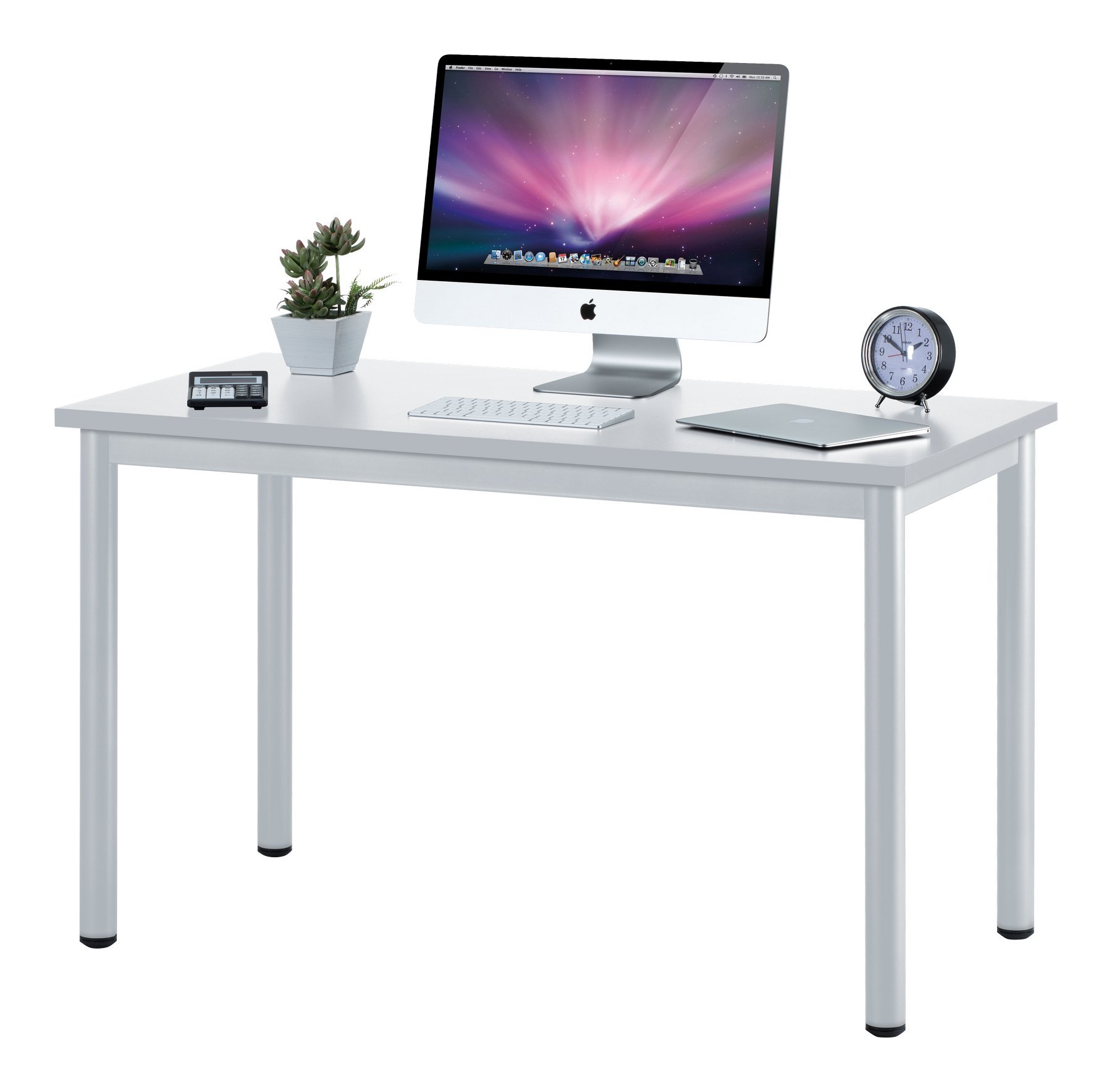 "Fineboard 47"" Home Office Computer Desk Writing Table, White"