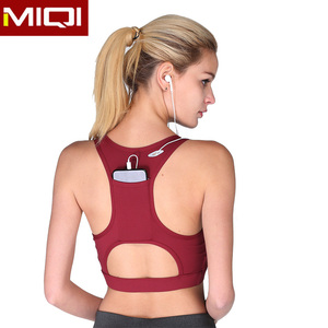 Bulk Breathable Compression Activewear Sexy Yoga Bra Crop Top Cheap Wholesale OEM Custom Blank Crane Sports Bra with Pocket