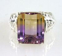 Natural Large Bolivian Emerald-Cut Ametrine Ring12x10MM 925 Sterling Silver