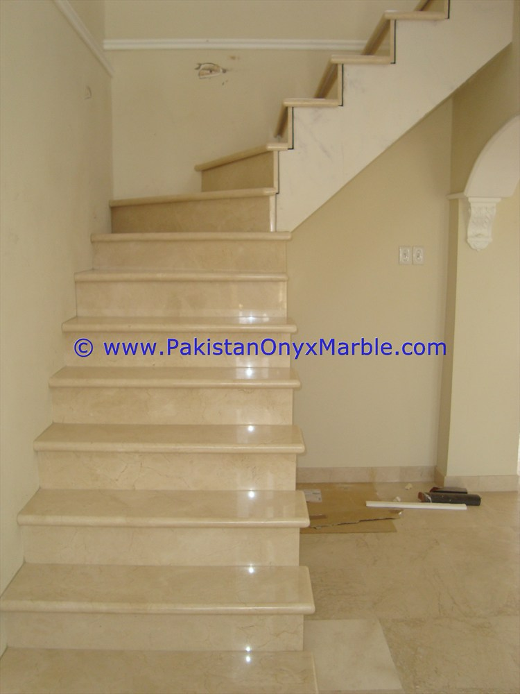 Natural Marble Stairs Steps Risers Teakwood Burmateak Beige Black