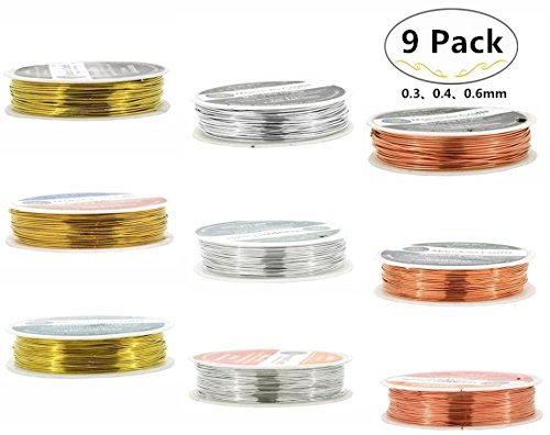 Magnolora 9 Spool 0.3, 0.4, 0.6mm Tarnish Resistant Bare Copper Wire Jewelry Beading Wire Roll for Crafts Beading Jewelry Making