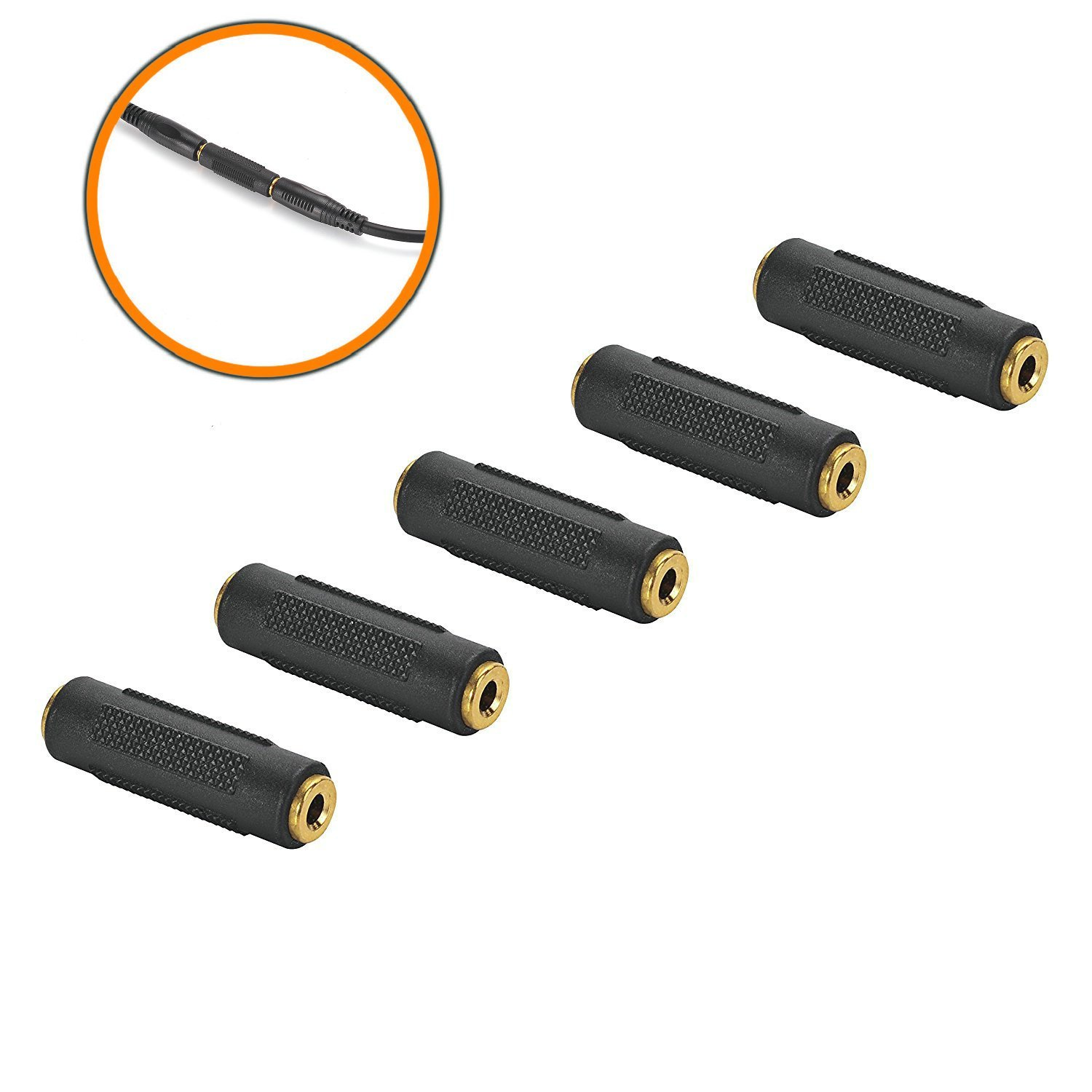 3.5mm F/F Stereo Coupler - 5 Pack Gold Plated 3.5mm Stereo jack Female to Female Adapter Connectors