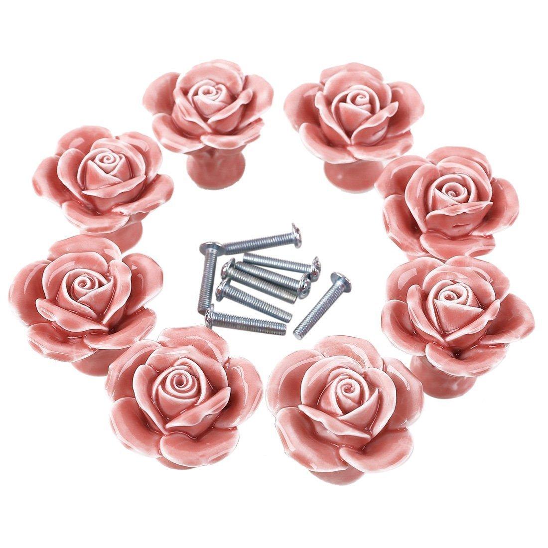 WOLFBUSH Knobs, 8Pcs Elegant White/Pink Rose Pulls Flower Ceramic Cabinet Knobs Cupboard Drawer Pull Handles