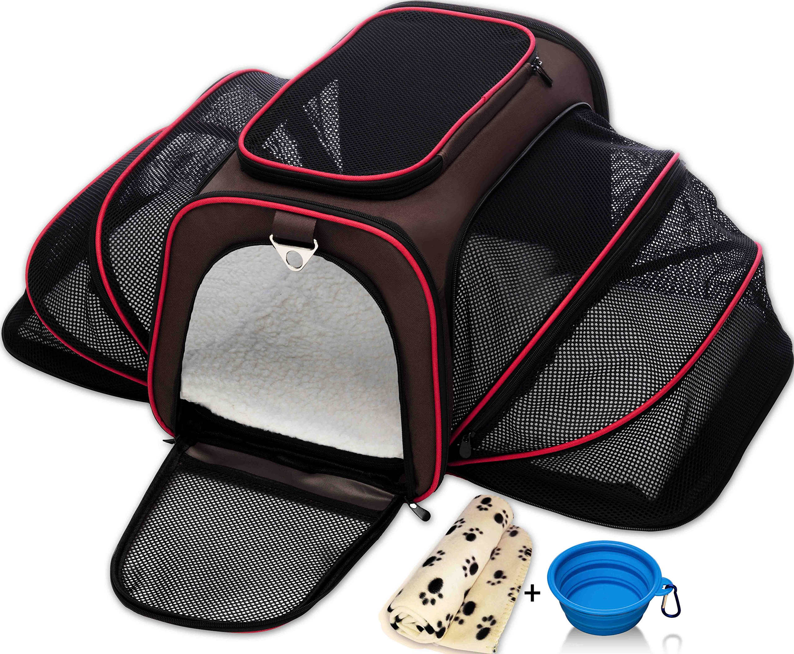Petyella Cat Carrier Pet Carrier for Small Dogs and Cats - Expandable Soft Sided Crate for Pet - Airline Approved Medium Kennel Travel Bag - 2.8 lbs Dog Carriers with Bonus Blanket & Bowl