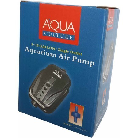 Aqua Culture 5 - 15 Gallon Single Outlet Aquarium Air Pump with Check Valve. Easy To Set Up. Air Output Up To 1200cc Per Minute. (For 5, 6, 7, 8, 9, 10, 11, 12, 13, 14, 15 Gallon Fish Tanks)