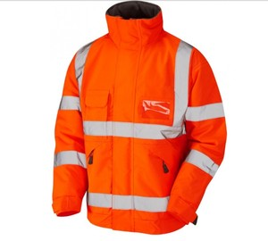 Workwear Hi Vis Railway Bomber Jacket Waterproof With Fleece Lining Orange