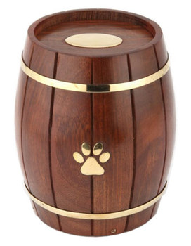 Custom Paw Print Wood Barrel Pet Urn