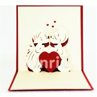 LOVE KISS 3D POPUP CARD, HANDMADE CARD AT CHRISTMAS, WEDDING, VALENTINE