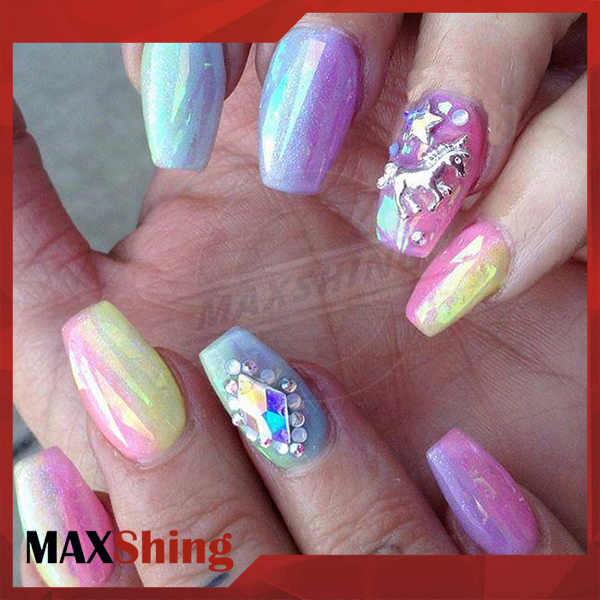 Unicorn rainbow pigment chrome mermaid mirror effect nail powder
