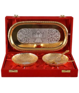 Gold Plated 2 Bowl Set With tray and Spoons