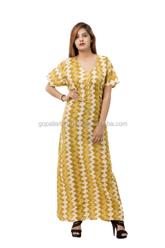 Womens short sleeve nightie night gown abstract design full print ladies  front opening cotton nightdress fdf5661cc