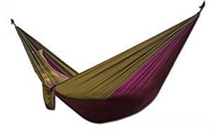 Yikemama Outdoor leisure hammock - Ultra-light Parachute Cloth Hammock Outdoor Camping Leisure Hammock, Size Optional --Ultralight convenient hammock (Camel yellow and purple)