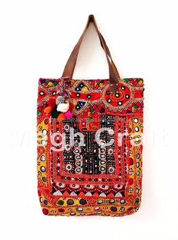 Handmade Genuine Leather Tote Handbag Indian Vintage Banjara Bag Tribal Boho