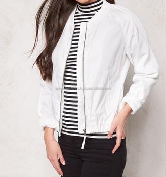 New York nuove foto design distintivo White Nylon Bomber Jacket For Ladies White Satin Baseball Varsity ...