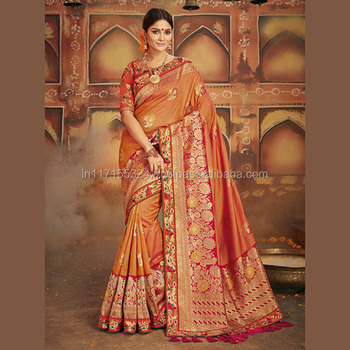 Orange Banarasi Silk Festival Wear Zari Work Saree