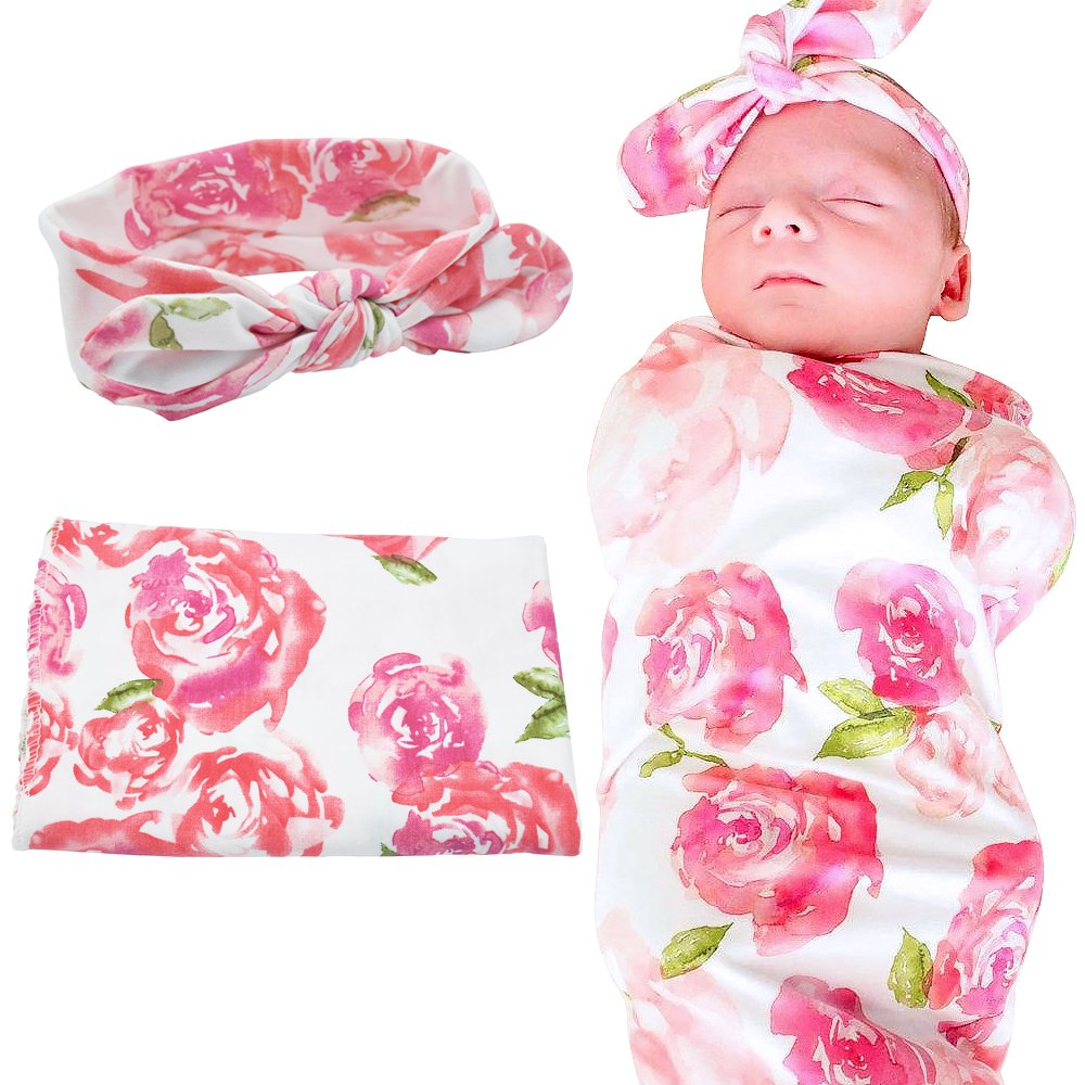 Baby Receiving Blankets Matching Swaddle and Headband Set, Newborn Baby Swaddle and Headband Set Blankets (Pink Flower)