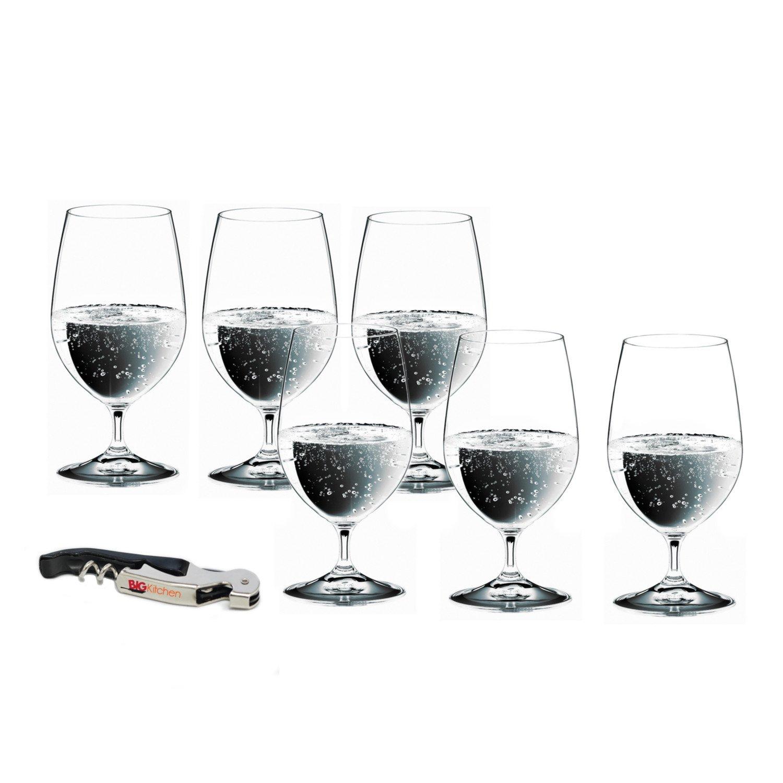 Riedel Vinum Gourmet Lead-Free Crystal 6 Piece Soft Drink/Water Glass Set with Bonus BigKitchen Waiter's Corkscrew