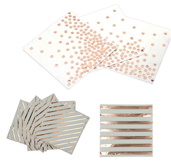 Foil Rose Gold Dot Printed Paper Napkin Party 100% Virgin Wood Dinner Paper Napkin For Wedding Birthday Home Decoration Supplies