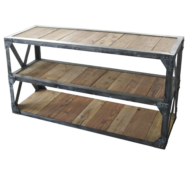 Iron Console Table Rustic Wood
