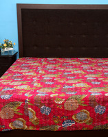 High Quality Fruit printed Flower Kantha Work Cotton Bedspread