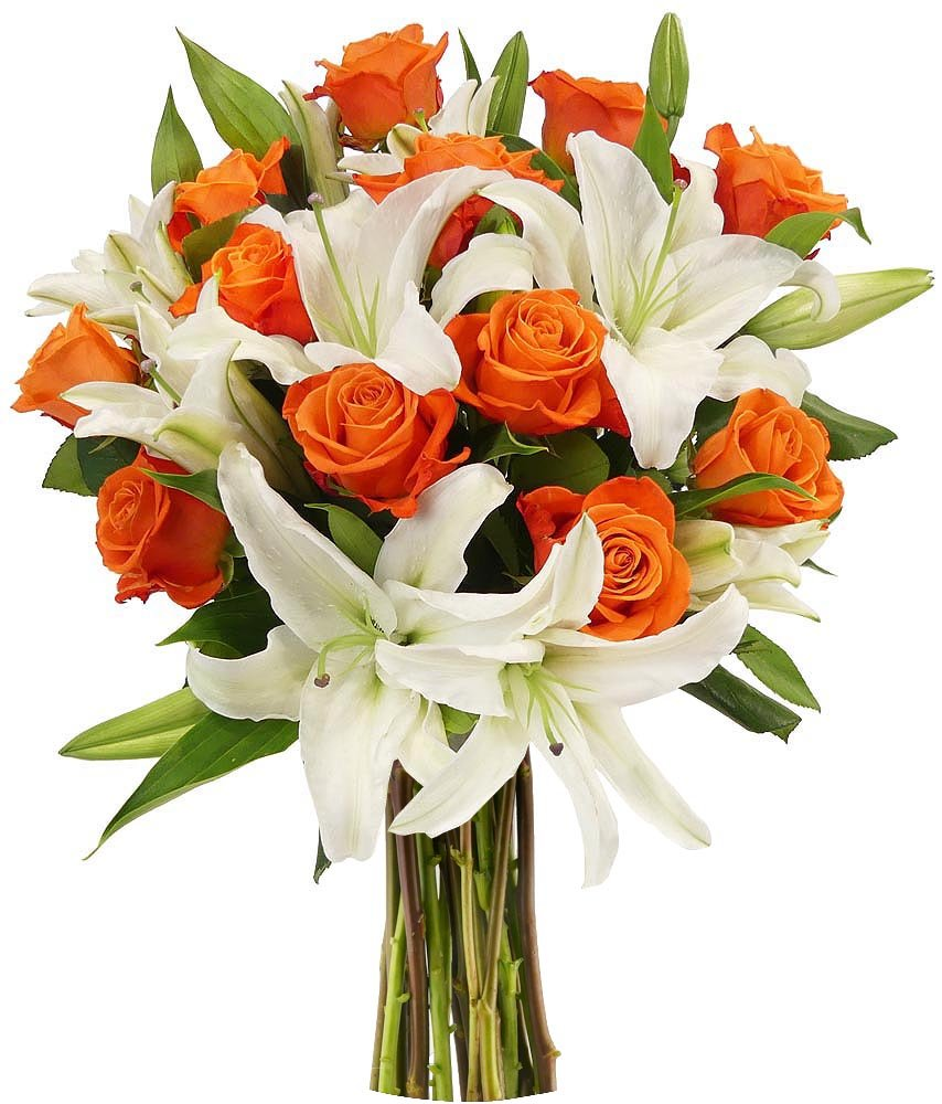 Buy Benchmark Bouquets Orange Roses And White Oriental Lilies No