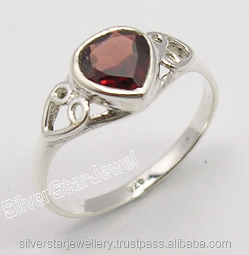 Fashion Natural Stones Women Jewelers Store 925 Sterling Silver Authentic RED GARNET Heart Gemstone WELL MADE Ring Any Size