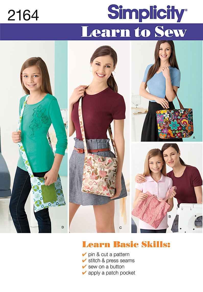 Simplicity Sewing Pattern 2164: Learn To Sew Bags, Size Os (One Size)