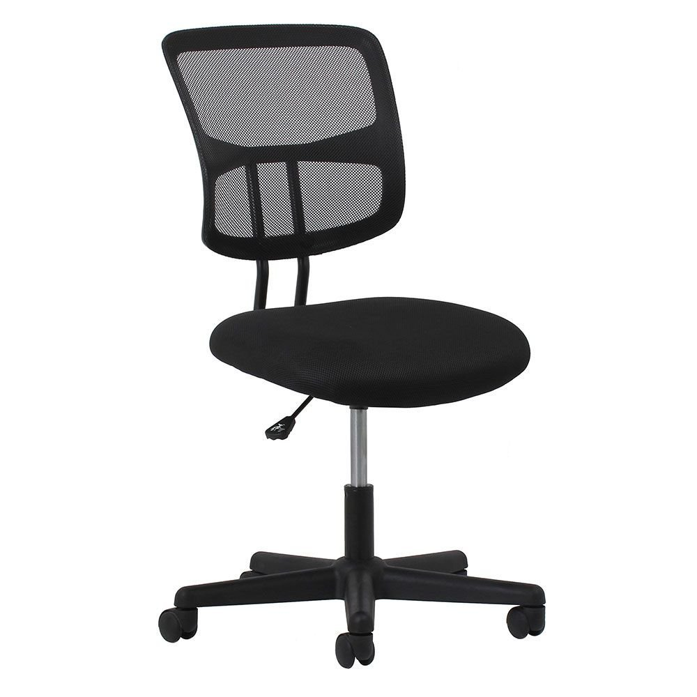 """Essentials Mesh Fabric Seat Armless Task Chair Dimensions: 24.50""""W x 23.75""""D x 36""""H Seat Dimensions: 17.75""""Wx17""""Dx15.75-20.25""""H Black Mesh Back/Black Mesh Fabric Seat/Black Base"""